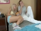 Beautiful Blonde Teen Plays with Big Cock