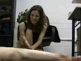 Slutty Secretary Gives A Handjob In The Office