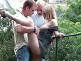 Hot Blonde Bitch Fucked In Public By Two Friends