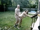Chubby Mature Couple Caught Fucking In The Backyard
